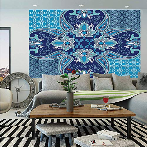 SoSung Navy Huge Photo Wall Mural,Middle Eastern Oriental Persian Pattern with Arabesque Moroccan Effects Design,Self-Adhesive Large Wallpaper for Home Decor 100x144 inches,Indigo Sky Blue -