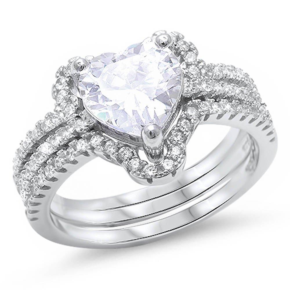 Oxford Diamond Co 3CT Heart Shape Solitaire 2 Ring Set .925 Sterling Silver Ring Sizes 5-10