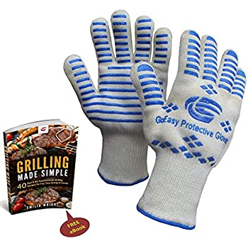 Highest Rated Oven Gloves Heat resistant For Grilling Cooking BBQ Camping Baking Protects To 932°F 500°C EN407 Compliance Durable and Comfortable Machine Washable FREE Grilling eBook