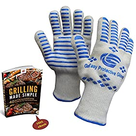 Highest Rated Oven Gloves Heat resistant l Best Oven Gloves with Fingers for High Heat Grilling Cooking BBQ Camping Baking l Protects Up To 932°F 500°C l EN407 Compliance l FREE Grilling eBook