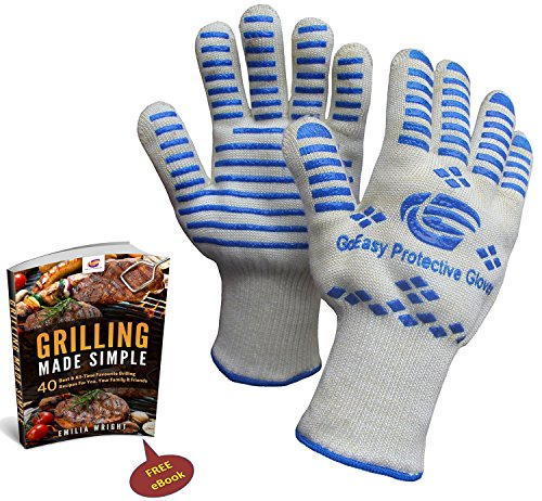 PerfectoStore Highest Rated Oven Gloves Heat resistant For Grilling Cooking BBQ Camping Baking Protects To 932°F Compliance Durable, Bruella BBQ Gloves Ideal Gifts for Men & Father's Day