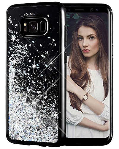 Galaxy S8 Case, Caka Galaxy S8 Glitter Case [Starry Night Series] Luxury Fashion Bling Flowing Liquid Floating Sparkle Glitter Girly TPU Bumper Case for Samsung Galaxy S8 - (Silver)