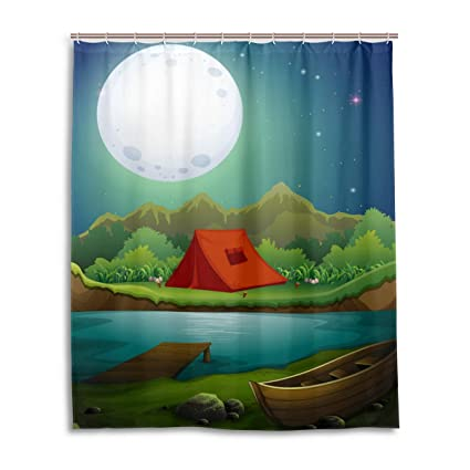 Camping Shower CurtainTent By The Lake With Full Moon Outdoor Activity Cartoon Doodle Style