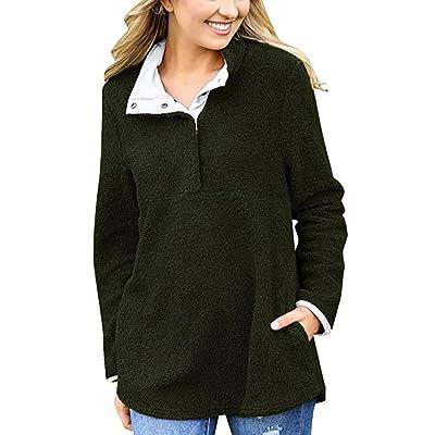 ❤️Femmes Pull Manteau Hiver Chaud 1/4 Bouton Outfit Pullover Manteau Manteau Outwear Tefamore