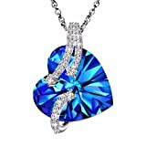 """Amazon Price History for:Made with Swarovski Crystals """"Heart Of the Ocean"""" 925 Sterling Silver Blue Heart Pendant Necklace Gift"""