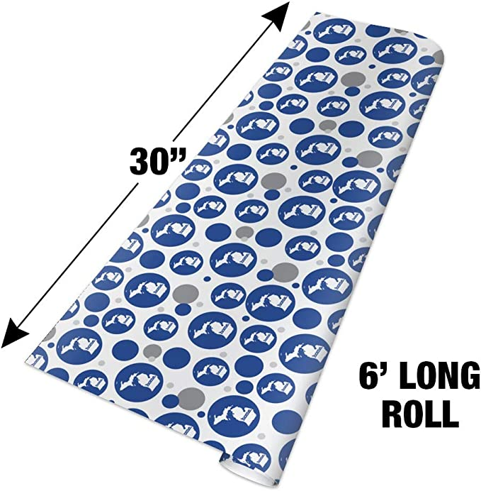 Michigan MI Home State Solid Navy Blue Kraft Gift Wrap Wrapping Paper Roll