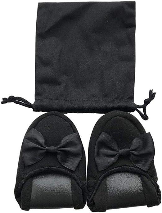 WYEZ Zapatillas Plegables Portátiles Damas Cinta de Encaje Examen Plegable Ropa Interior Viajes de Negocios Escuela de aviación con Bolsa de Almacenamiento,Negro,37: Amazon.es: Hogar