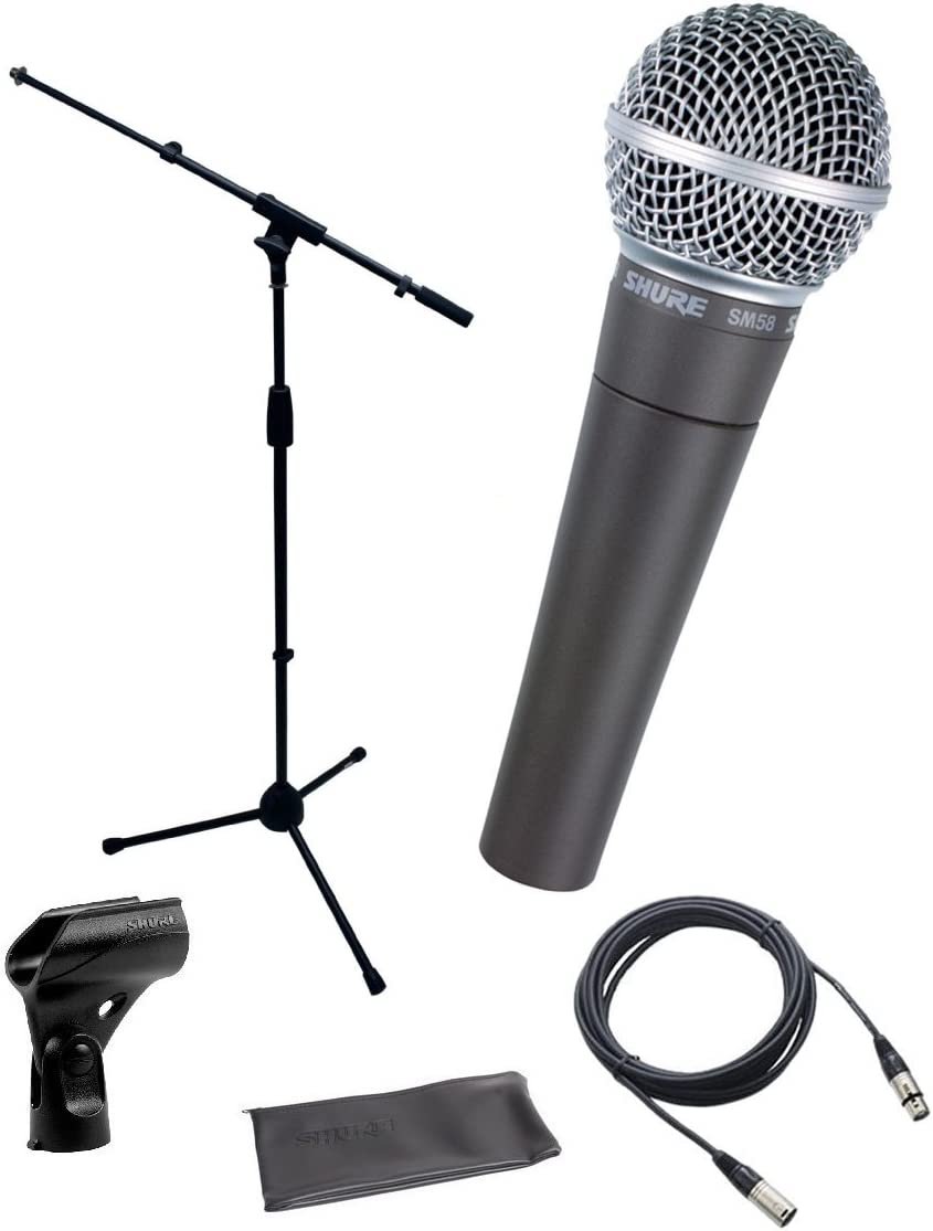 Amazon Com Shure Sm58 Lc Cardioid Dynamic Vocal Microphone Bundle With Stand Adapter And Zippered Pouch Home Audio Theater