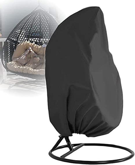 Amazon Com Iisport 210d Hanging Chair Cover For Single Swinging Egg Chair Water Resistant Pod Chair Swingasan Outdoor Patio Cover With Silver Coated 74 H X 45 D Black Furniture Decor