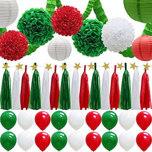 43pcs Party Decorations Set, Paper Lanterns Balloons Tassels Hanging Garland Banner Tissue Pom Poms Flowers Clover Garland Paper Garland for Baby Shower Bridal Birthday Christmas Events]()