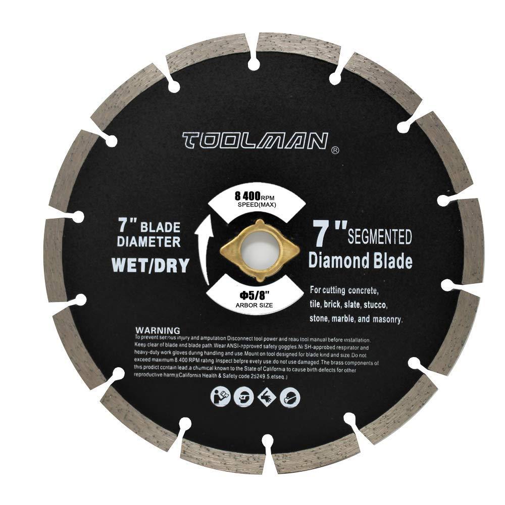 Toolman Circular Saw Blade Universal Fit 7'' Wet Dry Diamond Masonry for Tile Marble Concrete brick works with DeWalt Makita Ryobi