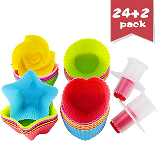 24 Pieces Colorful LetGoShop Silicone Cupcake Liners Reusable Baking Cups Nonstick Easy Clean Pastry Muffin Molds 4 Shapes Round Flowers Heart Stars