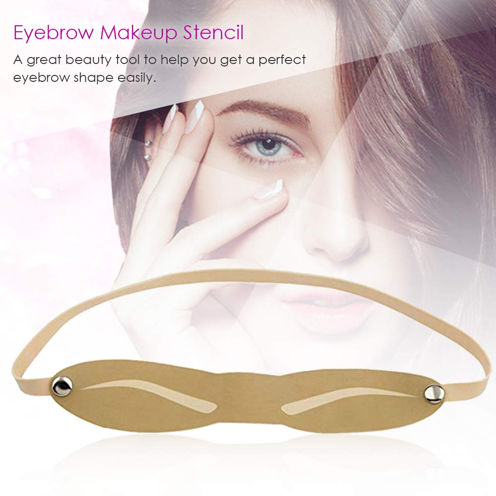 Anself Eyebrow Stencil Strap Shaping Rubber Reusable Eyebrow Drawing Templates Grooming Brow Template Tools