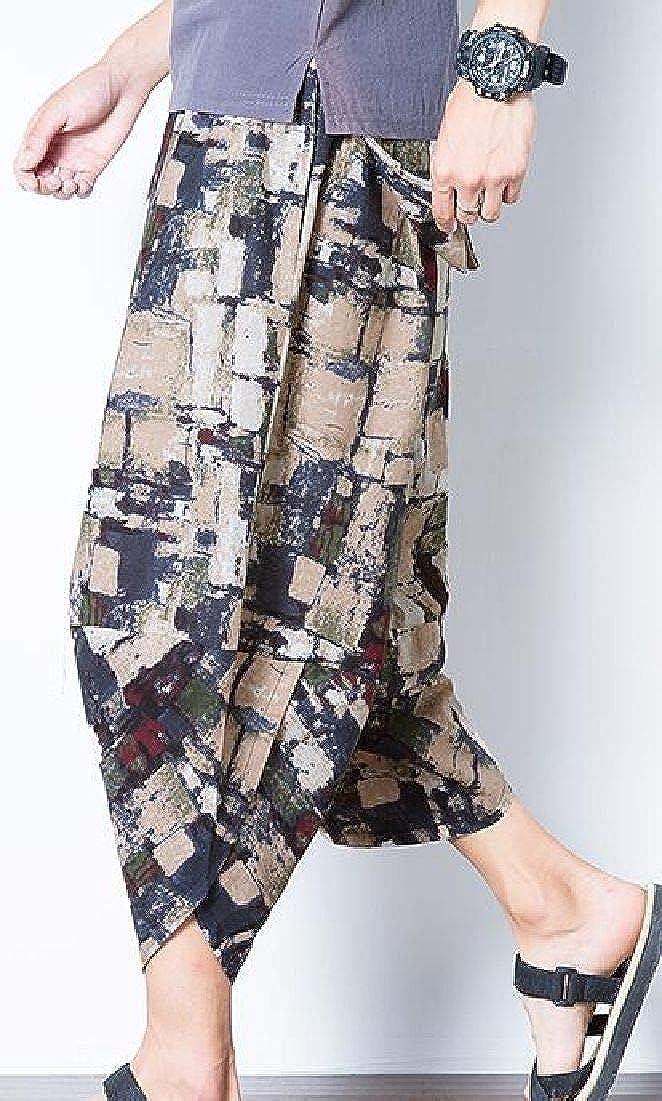 KLJR Men Loose Cotton Linen Casual Printed Capri Pants Chinese Style Harem Pants