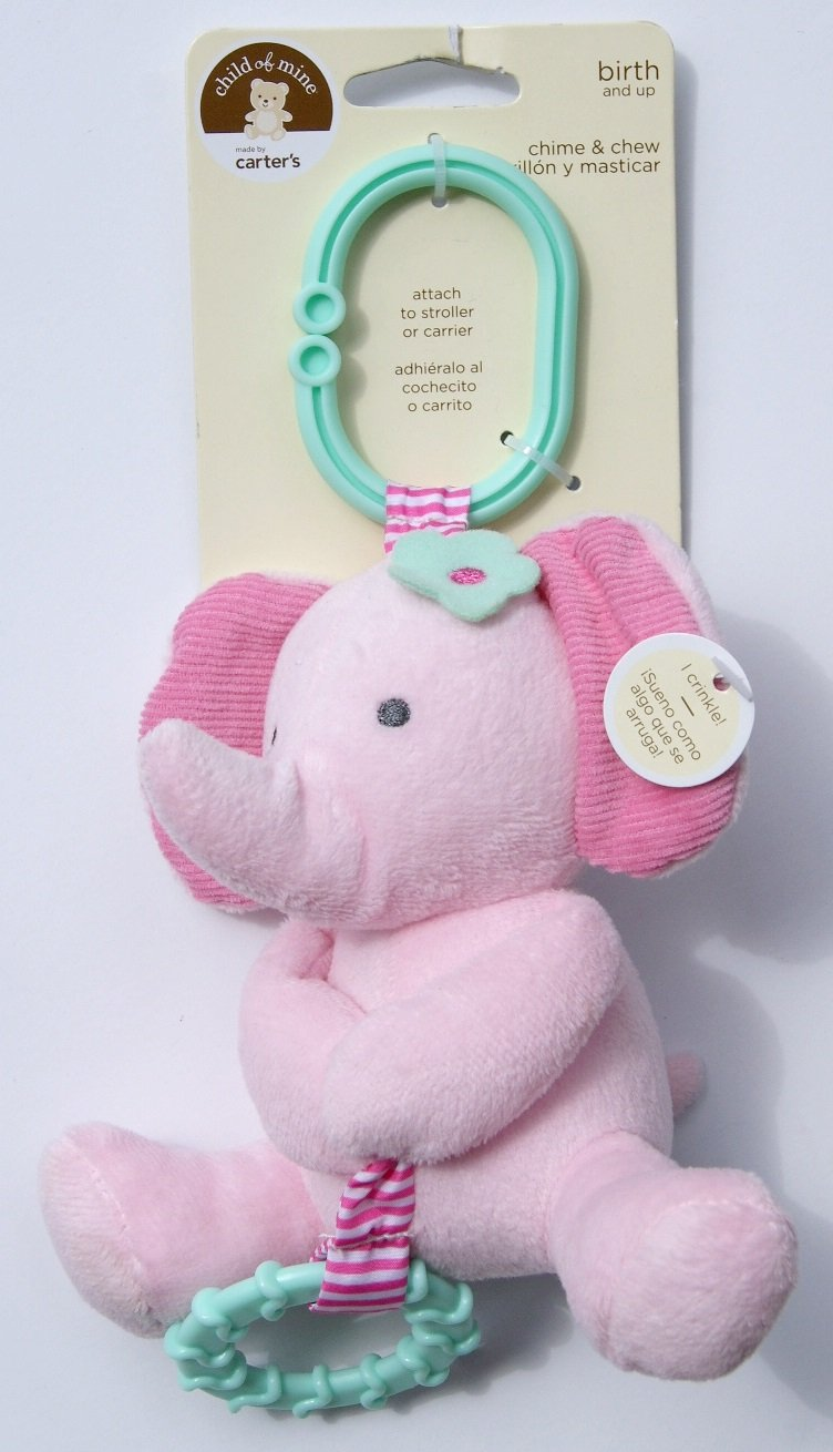 Amazon.com : Child of Mine Chime and Chew Soft Plush - Pink Elephant with Teething Ring and Chime : Baby