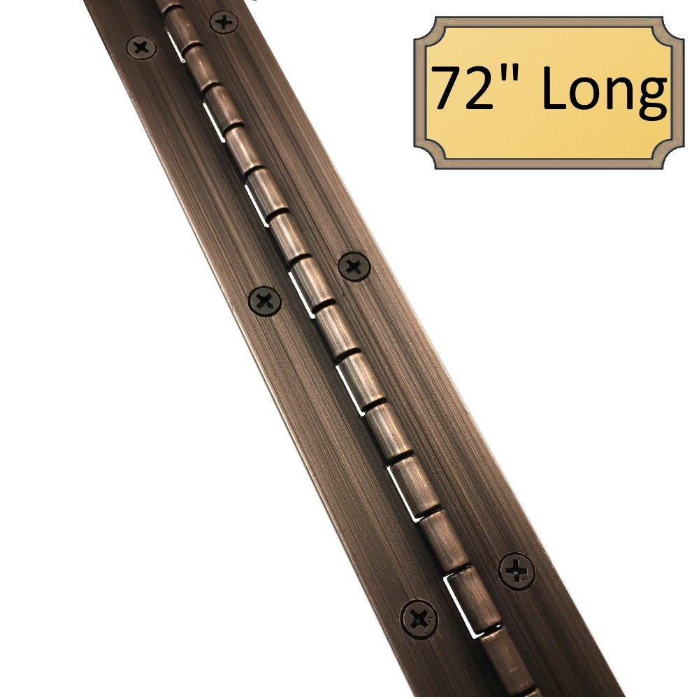 1-1/2'' x 72'' Continuous Piano Hinge - HEAVY DUTY .060'' Leaf Thickness - Antique Bronze - Matching #6 x 3/4'' Screws Included