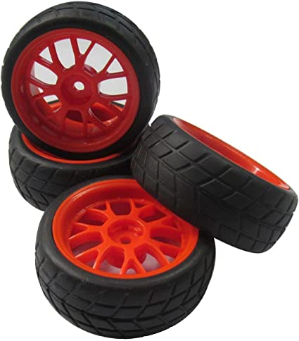 4PCS Wheel Rims/&Tires for RC 1 10 on-road Racing car   Black/&Red Plastic/&Rubber