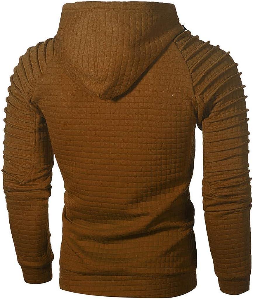 TUSANG Mens Autumn Long Sleeve Hooded Sweatshirt Plaid Hoodie Hooded Sweatshirt Top Tee Outwear Blouse