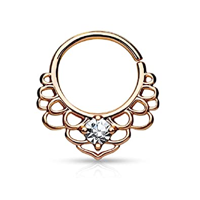 afcc7355b Amazon.com: CZ Centered Lotus Filigree Bendable Septum/Cartilage Ring -  Available in Multiple Colors (Rose Gold Tone): Jewelry