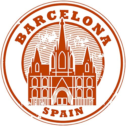 Oval spain barcelona red tower 4x4 inches sticker decal die cut vinyl - Made and Shipped in USA - Barcelona Tower