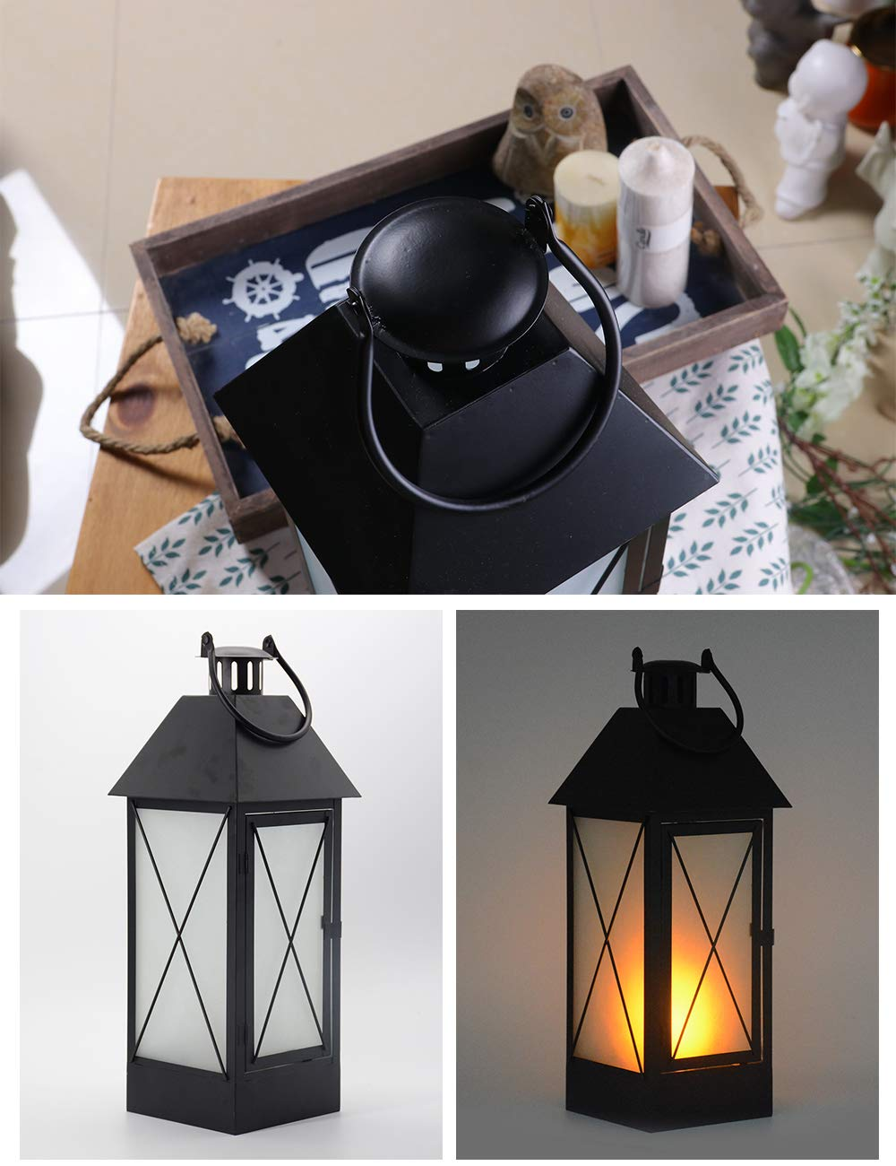 HomeBerry 16 Battery Operated LED Bulb Decorative Flame Effect Hanging Candle Lantern Table Desk Lamp Candle Holder Christmas Decoration Living Bedroom Office Kicthen Lantern Lighting Lamp