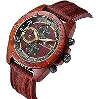 Mens Wood Wrist Watch Analog Quartz Movement Waterproof Sport Watches With Silicone Strap Quartz Wood Wristwatch Chronograph Clock for Men