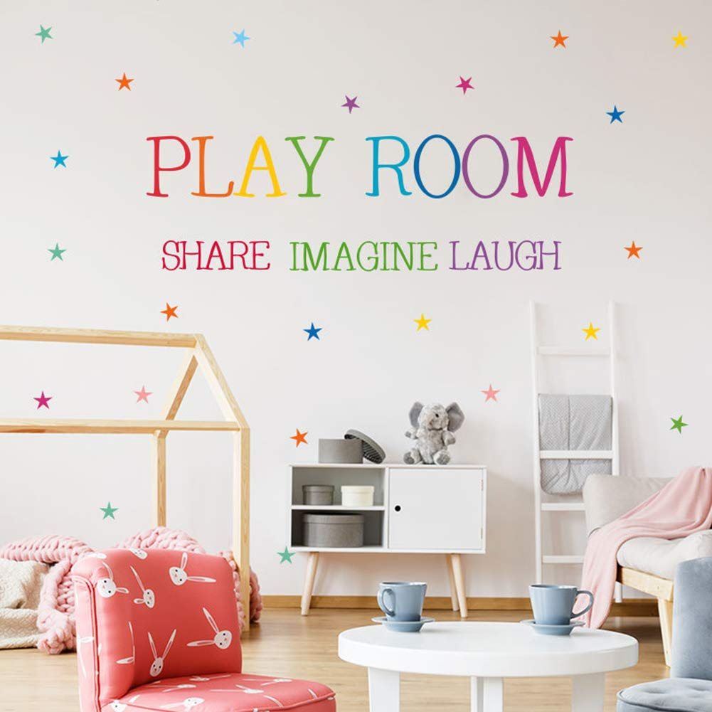 Playroom Share Imagine Laugh Wall Art - Colorful Inspirational Lettering Quote with Stars Wall Decal Sticker for Nursery Classroom Playroom Decoration(1#Play Room)