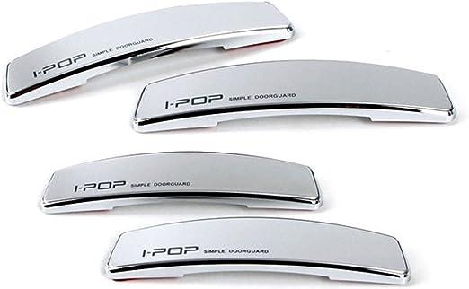 IPOP Car Slim Door Edge Guards Bumper Protector Guard Chrome Vehicle 4pcs Silver