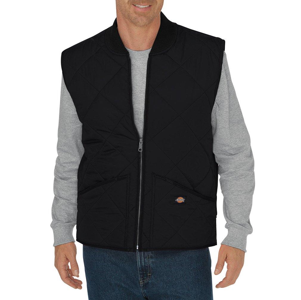 Dickies Men's Diamond Quilted Water Resistant Vest, Black, 2T by Dickies