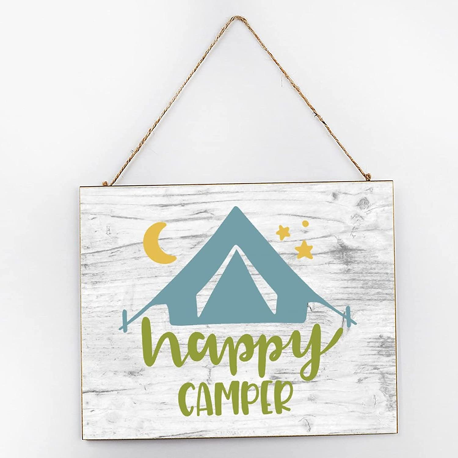 EricauBird Happy Camper Farmhouse Hanging Wood Sign Camping Quote Wood Plaque 10x12 Rustic Wall Decor Wall Art for Indoor Outdoor