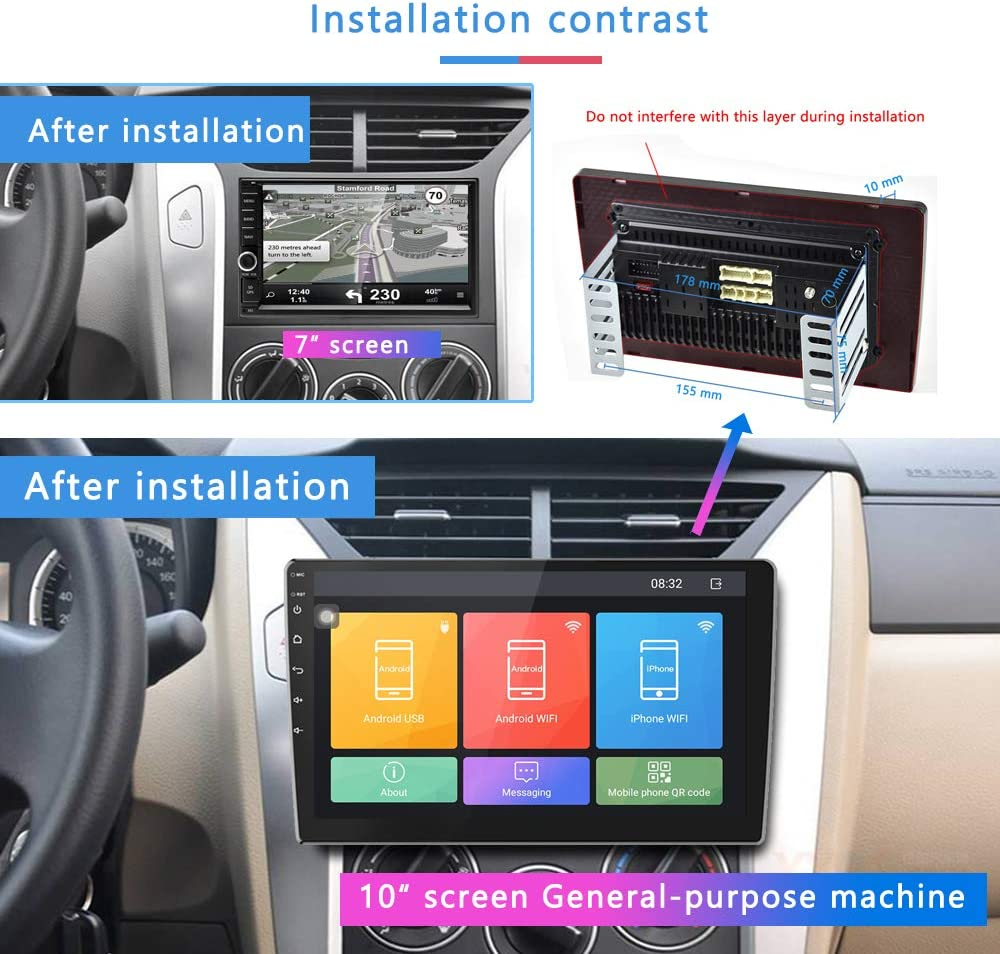 Camecho Android Double Din Car Stereo 1G//16G 9 inch HD 2.5D Touch Screen GPS Navigation Radio Bluetooth FM Player Support Android//iOS Phone Mirror Link with WiFi//AUX//Dual USB Backup Camera