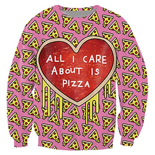 RAISEVERN All I Care About is Pizza Print Funny Saying Pullover Sweater Sweatshirts Clothes