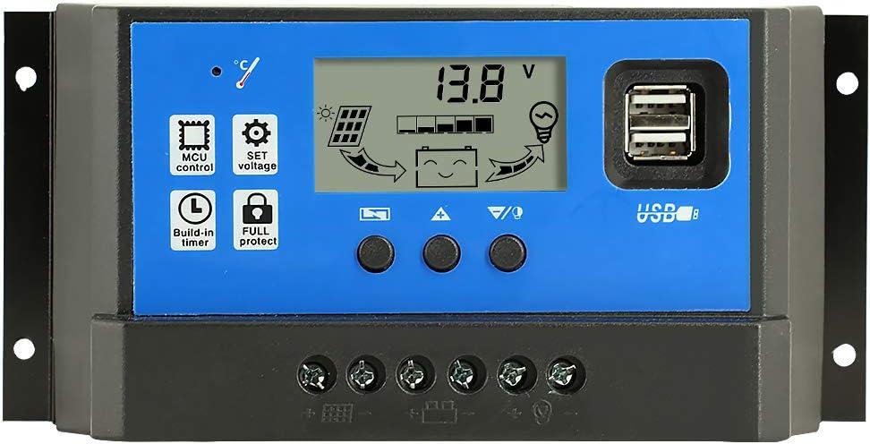 Y&H 10A/20A/30A/40A 12V/24V Controlador de Carga Solar Panel de batería regulador Inteligente con Doble Puerto USB 5 V Temporizador de luz visualización LCD