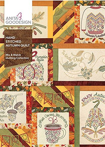 Anita Goodesign Embroidery Machine Designs CD Hand Stitched Autumn Quilt (Quilting Hoop Square Hand)