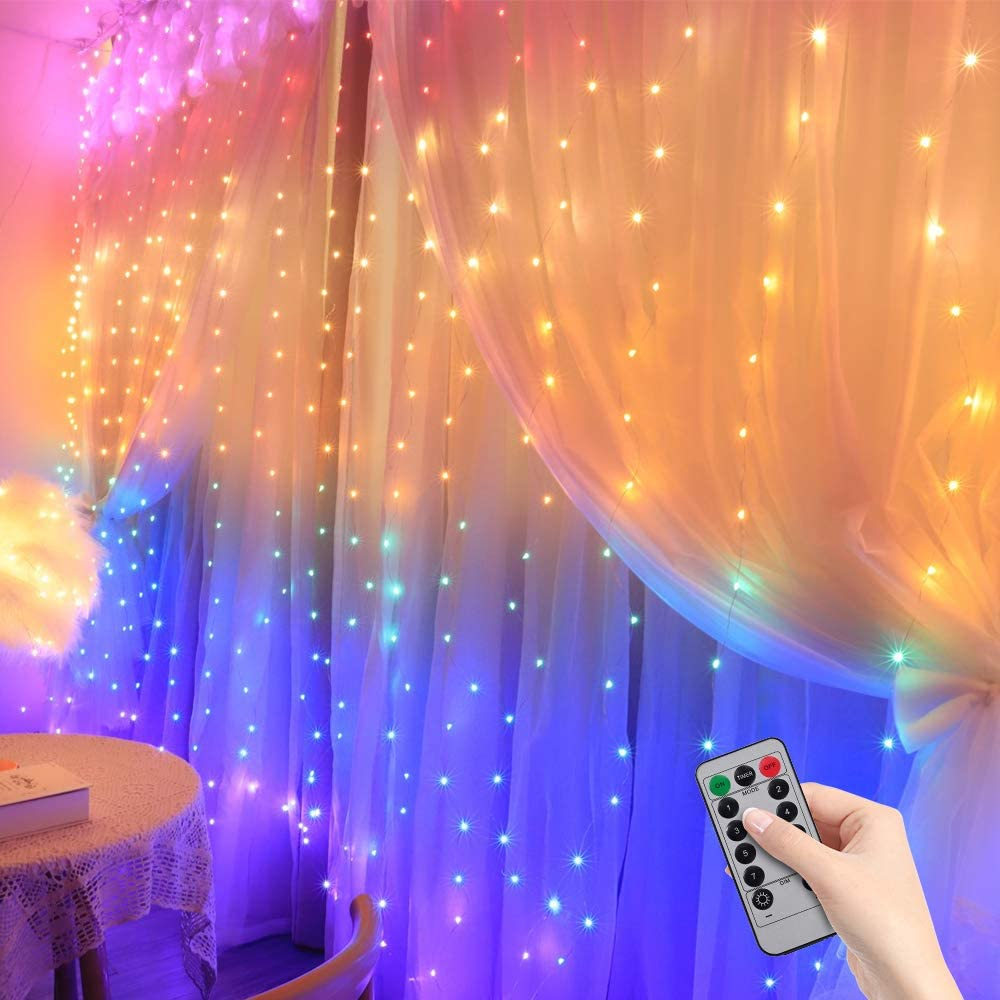 Christmas Curtain Lights - Curtain Lights for Room Decor Light Curtain LED Fairy Lights for Christmas, Wedding, Birthday,Party Decorations. Twinkle Lights are Great for Teen Girl Room Decor 8 Modes…