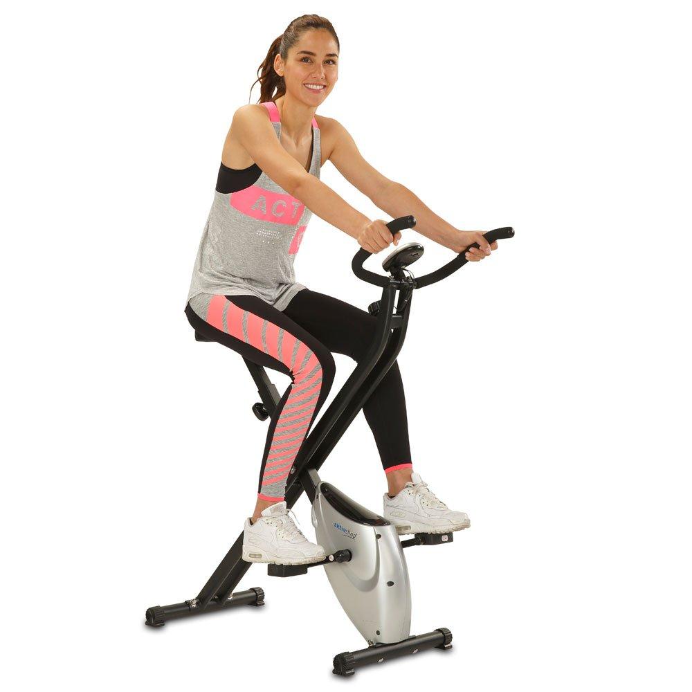 maxVitalis Heimtrainer X-Bike aktiv Fitnessbike F-Bike Fitnessger/ät faltbar Handpulsmessung 2,5 kg Schwungmasse mit Magnetbremssystem!