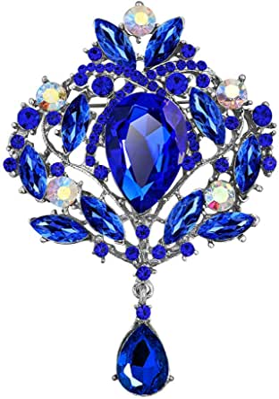 Korliya Teardrop Flower Rhinestone Fashion Brooch Pin Gift for Women Girls Party
