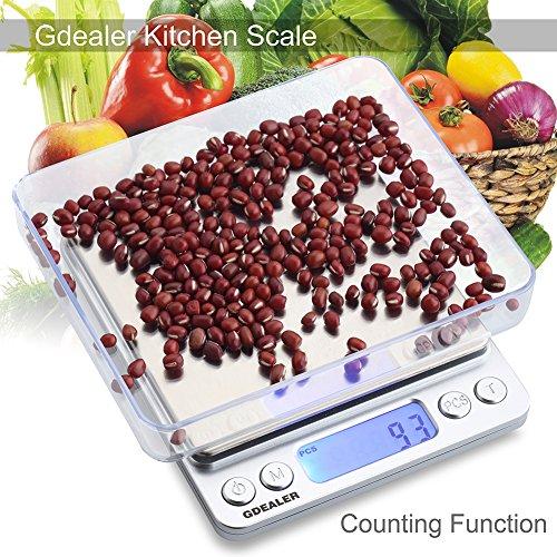GDEALERFoodScale,0.001oz PreciseDigital KitchenScaleGramScalesWeight Food CoffeeScale DigitalScalesforCookingBakingStainlessSteelBack-litLCDDisplayPocket Small Scale,Silver