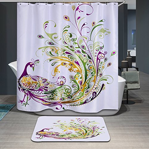 Polyerster Shower Curtain, Peacock, Size Width X Height / 72 X 80 Inches / W * H 180 By 200 Cm Modern Design, Eco-Friendly, Best And Suitable For Bathroom