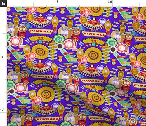 (Tilt Fabric - Arcade Retro Pinball Machine Vintage Pinball Game Print on Fabric by The Yard - Sport Lycra for Swimwear Performance Leggings Apparel Fashion)