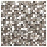 3D Silver And Pewter Aluminum Square Mosaic Tile - Kitchen Backsplash / Bath Backsplash / Wall Decor / Fireplace Surround