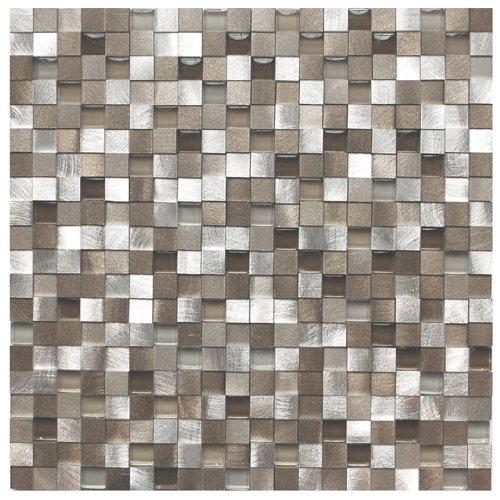 3D Silver And Pewter Aluminum Square Mosaic Tile - Kitchen Backsplash / Bath Backsplash / Wall Decor / Fireplace (Pewter Wall Tiles)