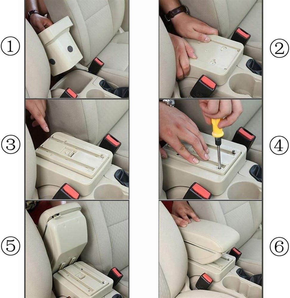 9N3 2002-2009 pour Vivo 2010-On Console Centrale Daccoudoir De Voiture FSXF Double Couche Accoudoirs Appuie-Bras en Cuir PU Center Console Bo/îte De Rangement pour Volkswagen VW Polo 9N