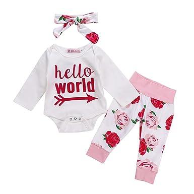 Conjuntos de Niña Ropa Para Bebes Recien Nacido Vestidos Bebe Niñas Monos 3Pcs