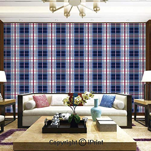 - Lionpapa_mural Self-Adhesive Large Wallpaper Better Designs for Living Room,Classical Vintage Design with Vibrant Colors Scottish Tartan Tile,Home Decor - 66x96 inches