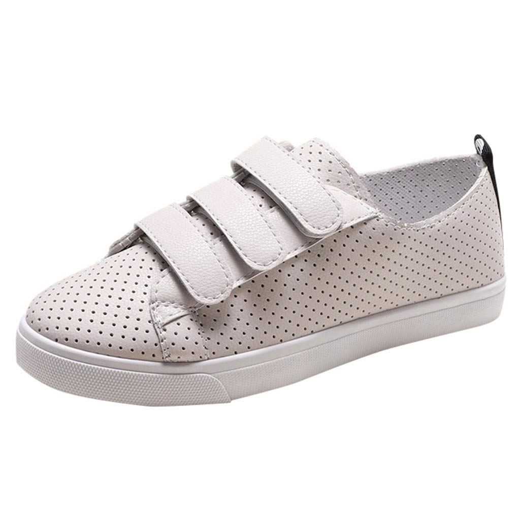 Flat Breatable Sneakers Women,Mosunx Athletic 【Mesh Lightweight 3 Velcro】All White Fashion Casual Sport Running Walking Work Shoes (5 M US, Beige) by Mosunx Athletic
