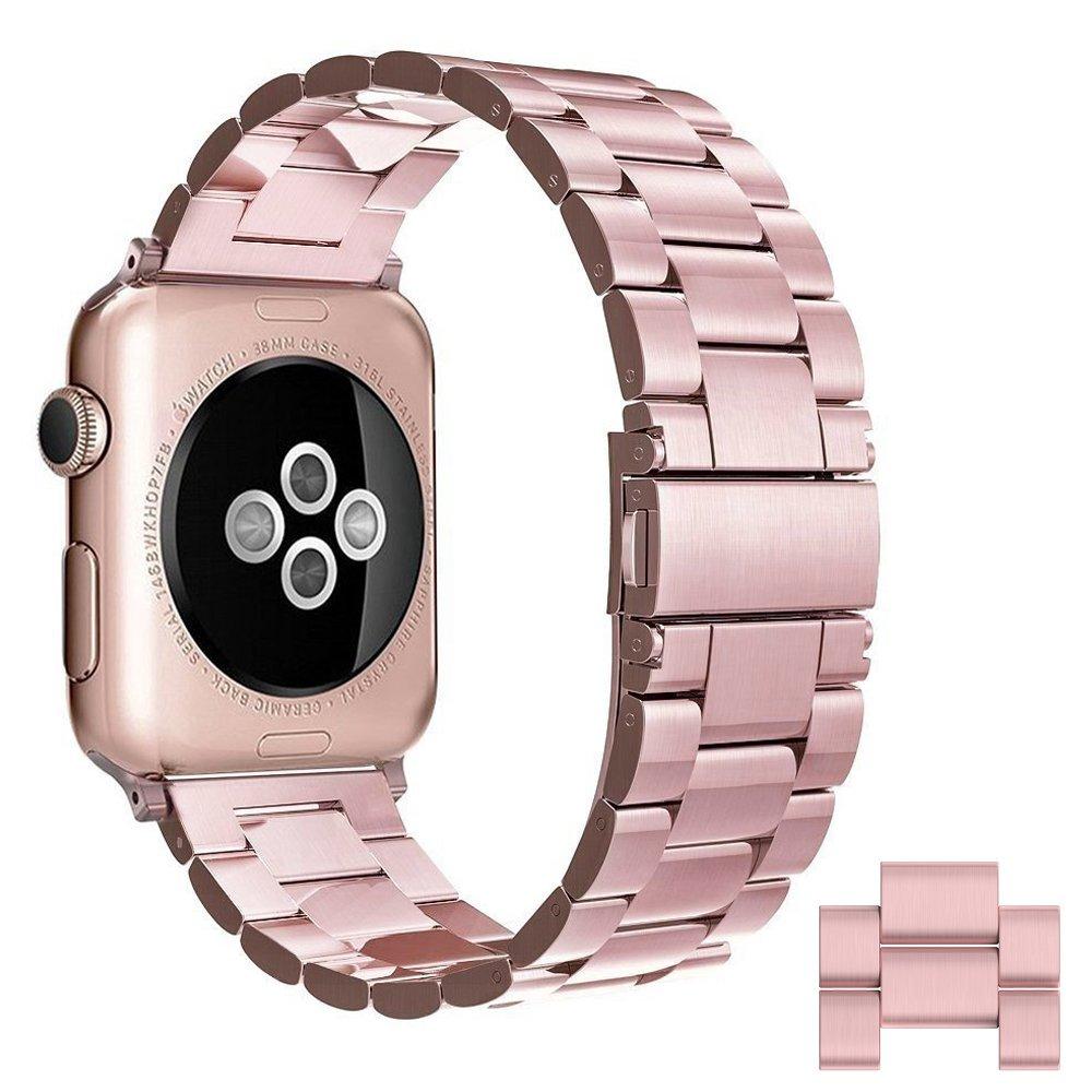 Simpeak Apple Watch 38mm Series 1 Series 2 Series 3 - L (2ピースのリンク) 用 ステンレススチール バンド ストラップ for iwatch 38mm 20APWT381-RG   B06Y2ZW9X7