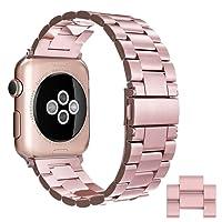 Apple Watch Correa, Simpeak Correa Apple Watch 38mm Series 3 / 2 / 1 band de Acero Inoxidable Reemplazo de Banda de la Muñeca con Metal Corchete para Apple Watch Todos los Modelos