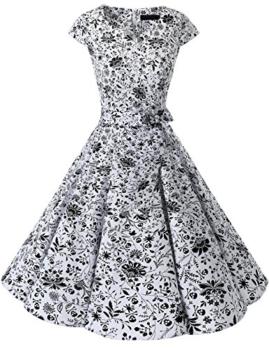 (DRESSTELLS Retro 1950s Cocktail Dresses Vintage Swing Dress Cosplay Halloween Dress White Skull)
