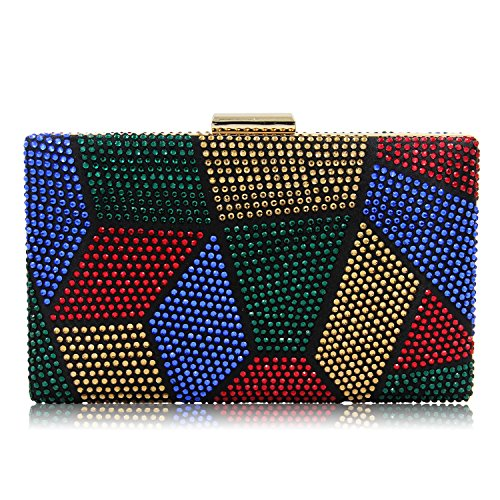 Sparkling Multicolored Rhinestone Evening Clutch Handbag Cocktail Crystal Clutch Purses Prom For Women